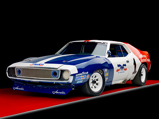 AUT 13 RK0275 01 © Kimball Stock 1972 AMC Javelin Race Car Red White And Blue 3/4 Front View Studio