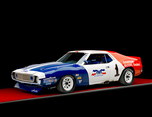 AUT 13 RK0276 01 © Kimball Stock 1972 AMC Javelin Race Car Red White And Blue 3/4 Front View Studio