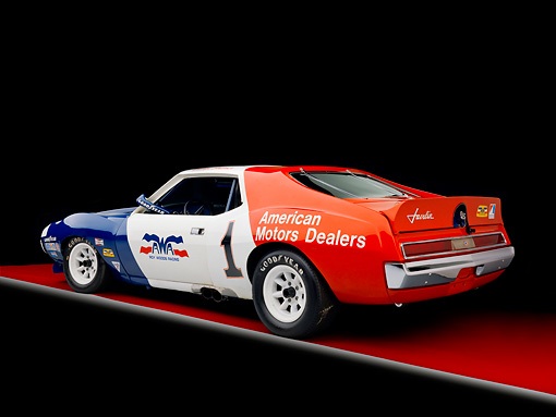 AUT 13 RK0279 01 © Kimball Stock 1972 AMC Javelin Race Car Red White And Blue 3/4 Rear View Studio