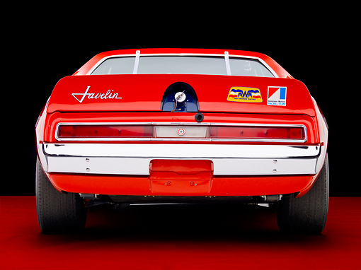 AUT 13 RK0280 01 © Kimball Stock 1972 AMC Javelin Race Car Red White And Blue Rear View Studio