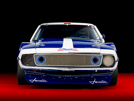 AUT 13 RK0281 01 © Kimball Stock 1972 AMC Javelin Race Car Red White And Blue Front View Studio