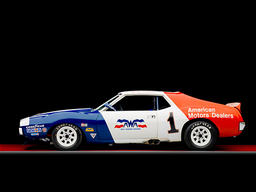 AUT 13 RK0283 01 © Kimball Stock 1972 AMC Javelin Race Car Red White And Blue Profile View Studio