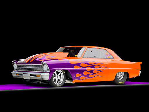 AUT 13 RK0285 01 © Kimball Stock 1967 Chevrolet Nova Dragster Orange With Purple Flames 3/4 Front View Studio