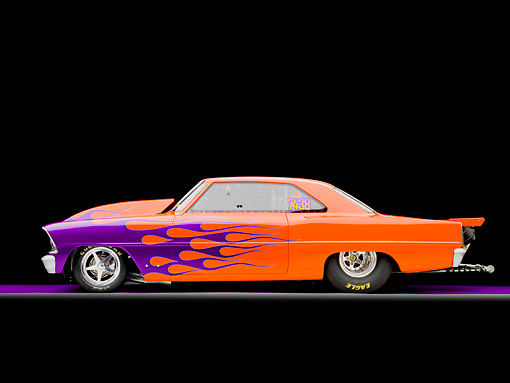 AUT 13 RK0286 01 © Kimball Stock 1967 Chevrolet Nova Dragster Orange With Purple Flames Profile View Studio