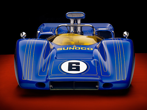 AUT 13 RK0287 01 © Kimball Stock 1967 McLaren M6A-03 Race Car Blue Front View Studio