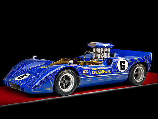 AUT 13 RK0288 01 © Kimball Stock 1967 McLaren M6A-03 Race Car Blue 3/4 Front View Studio