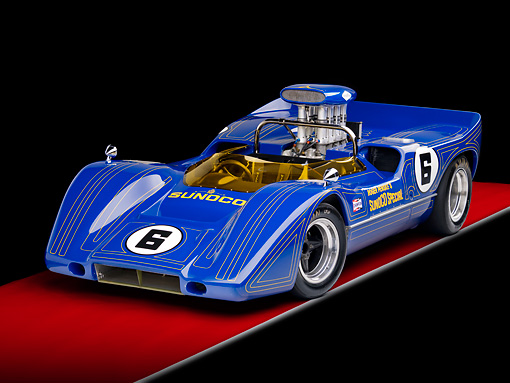 AUT 13 RK0289 01 © Kimball Stock 1967 McLaren M6A-03 Race Car Blue 3/4 Front View Studio