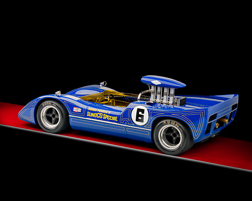 AUT 13 RK0290 01 © Kimball Stock 1967 McLaren M6A-03 Race Car Blue 3/4 Rear View Studio
