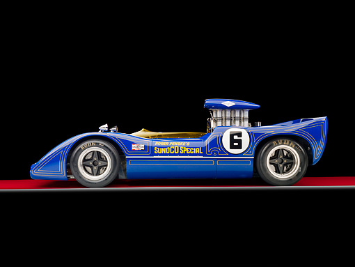 AUT 13 RK0291 01 © Kimball Stock 1967 McLaren M6A-03 Race Car Blue Profile View Studio