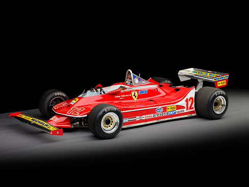 AUT 13 RK0310 01 © Kimball Stock 1979 Ferrari 312 T4 F1 Race Car Red 3/4 Front View Studio