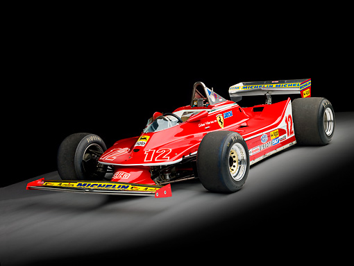 AUT 13 RK0311 01 © Kimball Stock 1979 Ferrari 312 T4 F1 Race Car Red 3/4 Front View Studio