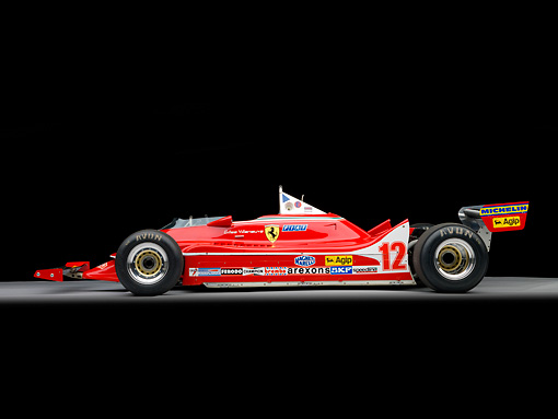 AUT 13 RK0317 01 © Kimball Stock 1979 Ferrari 312 T4 F1 Race Car Red Profile View Studio