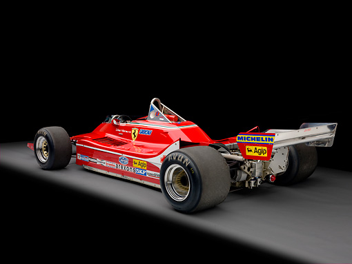 AUT 13 RK0319 01 © Kimball Stock 1979 Ferrari 312 T4 F1 Race Car Red 3/4 Rear View Studio