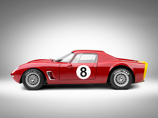 AUT 13 RK0327 01 © Kimball Stock 1965 Iso Rivolta Daytona Red Profile View On White Seamless