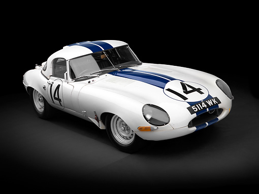 AUT 13 RK0331 01 © Kimball Stock 1963 Jaguar Lightweight E-Type 5114 WK White With Blue Stripes 3/4 Front View In Studio
