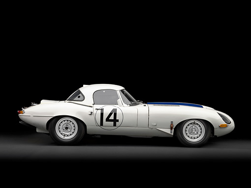 AUT 13 RK0333 01 © Kimball Stock 1963 Jaguar Lightweight E-Type 5114 WK White With Blue Stripes Profile View In Studio
