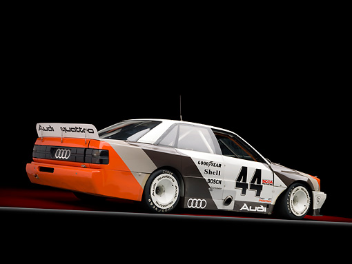 AUT 13 RK0338 01 © Kimball Stock 1989 Audi 200 Quattro Trans Am White, Orange And Black 3/4 Rear View In Studio
