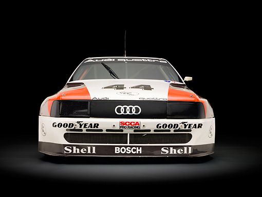 AUT 13 RK0340 01 © Kimball Stock 1989 Audi 200 Quattro Trans Am White, Orange And Black Head On View In Studio