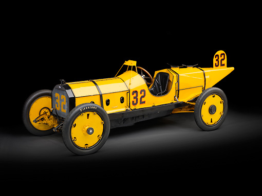 AUT 13 RK0343 01 © Kimball Stock 1911 Marmon Wasp Yellow 3/4 Side View In Studio