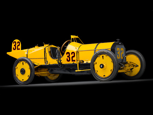 AUT 13 RK0345 01 © Kimball Stock 1911 Marmon Wasp Yellow 3/4 Side View In Studio