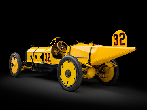 AUT 13 RK0353 01 © Kimball Stock 1911 Marmon Wasp Yellow 3/4 Rear View In Studio