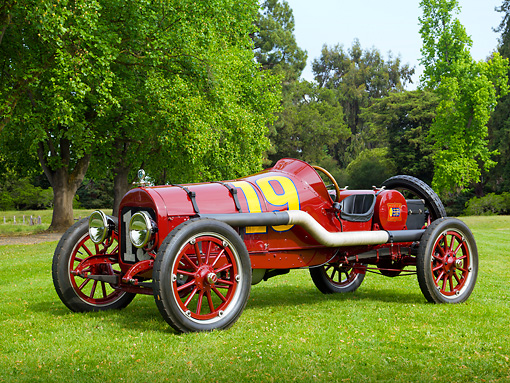 AUT 13 RK0364 01 © Kimball Stock 1919 Buick Racer Maroon 3/4 Front View On Grass