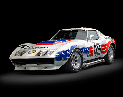 AUT 13 RK0368 01 © Kimball Stock 1969 Chevrolet Corvette BFG #49 ZL-1 Race Car Red, White And Blue 3/4 Front View In Studio