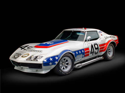 AUT 13 RK0369 01 © Kimball Stock 1969 Chevrolet Corvette BFG #49 ZL-1 Race Car Red, White And Blue 3/4 Front View In Studio