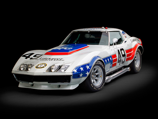 AUT 13 RK0370 01 © Kimball Stock 1969 Chevrolet Corvette BFG #49 ZL-1 Race Car Red, White And Blue 3/4 Front View In Studio