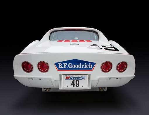 AUT 13 RK0373 01 © Kimball Stock 1969 Chevrolet Corvette BFG #49 ZL-1 Race Car Red, White And Blue Rear View In Studio