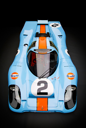 AUT 13 RK0376 01 © Kimball Stock 1969 Porsche 917-K Blue And Orange Overhead Front View In Studio
