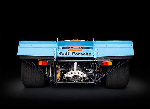 AUT 13 RK0378 01 © Kimball Stock 1969 Porsche 917-K Blue And Orange Rear View In Studio