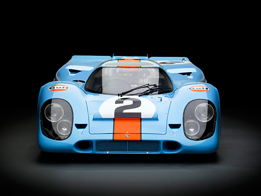 AUT 13 RK0379 01 © Kimball Stock 1969 Porsche 917-K Blue And Orange Front View In Studio
