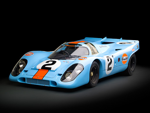 AUT 13 RK0380 01 © Kimball Stock 1969 Porsche 917-K Blue And Orange 3/4 Front View In Studio