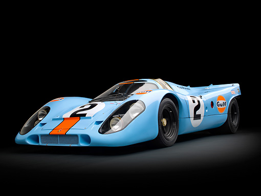 AUT 13 RK0382 01 © Kimball Stock 1969 Porsche 917-K Blue And Orange 3/4 Front View In Studio