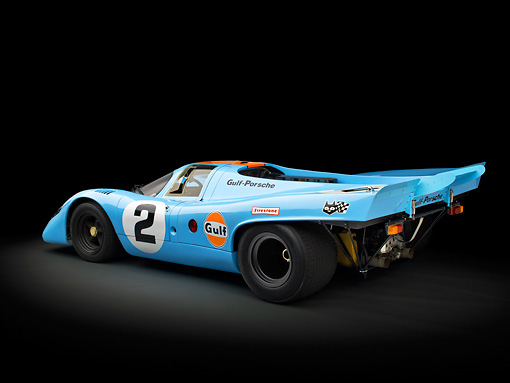 AUT 13 RK0383 01 © Kimball Stock 1969 Porsche 917-K Blue And Orange 3/4 Rear View In Studio