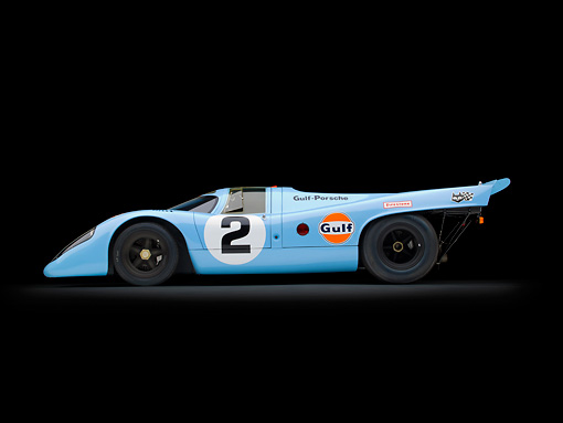 AUT 13 RK0384 01 © Kimball Stock 1969 Porsche 917-K Blue And Orange Profile View In Studio