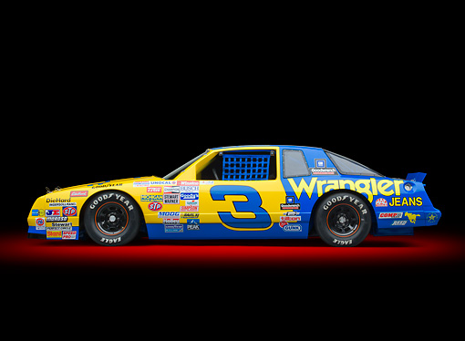 AUT 13 RK0388 01 © Kimball Stock 1987 Chevrolet Monte Carlo Stock Car Blue And Yellow Profile View In Studio