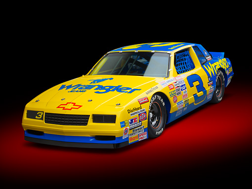 AUT 13 RK0390 01 © Kimball Stock 1987 Chevrolet Monte Carlo Stock Car Blue And Yellow 3/4 Front View In Studio
