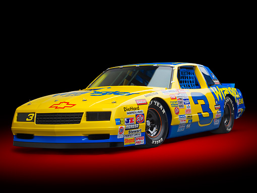 AUT 13 RK0391 01 © Kimball Stock 1987 Chevrolet Monte Carlo Stock Car Blue And Yellow 3/4 Front View In Studio