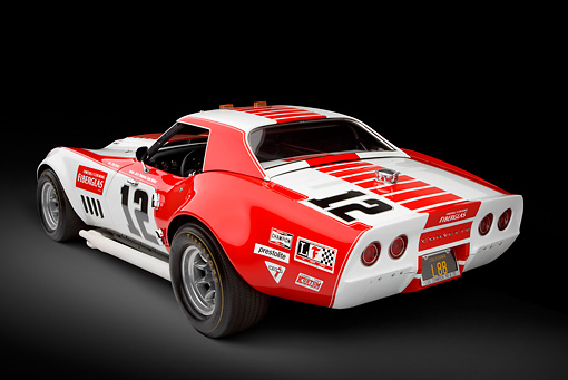 AUT 13 RK0398 01 © Kimball Stock 1968 Owens/Corning Chevrolet Corvette Race Car White & Red 3/4 Rear View In Studio