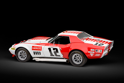 AUT 13 RK0399 01 © Kimball Stock 1968 Owens/Corning Chevrolet Corvette Race Car White & Red 3/4 Rear View In Studio