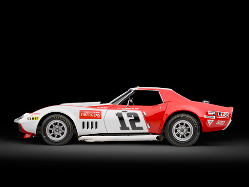 AUT 13 RK0400 01 © Kimball Stock 1968 Owens/Corning Chevrolet Corvette Race Car White & Red 3/4 Rear View In Studio