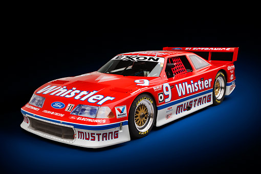 AUT 13 RK0403 01 © Kimball Stock 1991 Roush Mustang IMSA GTO Red 3/4 Front View In Studio