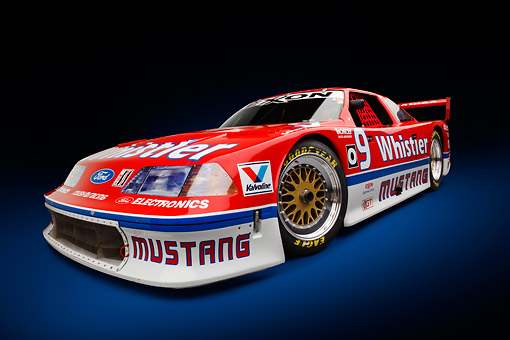 AUT 13 RK0405 01 © Kimball Stock 1991 Roush Mustang IMSA GTO Red 3/4 Front View In Studio