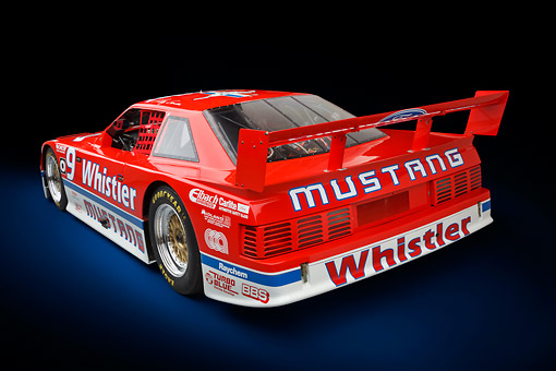 AUT 13 RK0406 01 © Kimball Stock 1991 Roush Mustang IMSA GTO Red 3/4 Rear View In Studio