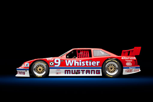 AUT 13 RK0407 01 © Kimball Stock 1991 Roush Mustang IMSA GTO Red Profile View In Studio
