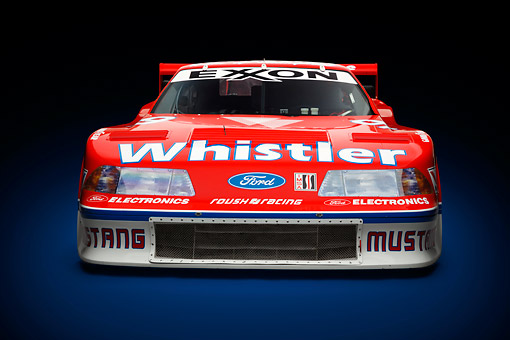 AUT 13 RK0408 01 © Kimball Stock 1991 Roush Mustang IMSA GTO Red Front View In Studio