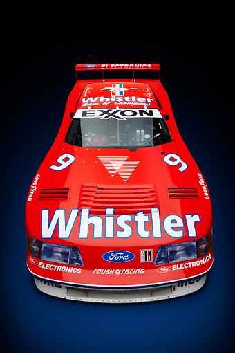 AUT 13 RK0409 01 © Kimball Stock 1991 Roush Mustang IMSA GTO Red Front View In Studio