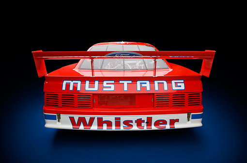 AUT 13 RK0410 01 © Kimball Stock 1991 Roush Mustang IMSA GTO Red Rear View In Studio